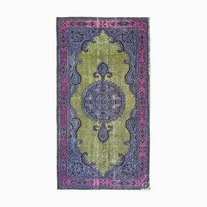 Purple Oriental Handwoven Carved Overdyed Carpet