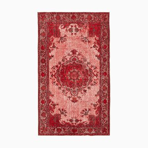 Red Antique Handwoven Carved Overdyed Carpet