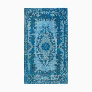 Vintage Turquoise Hand Knotted Wool Overdyed Carpet