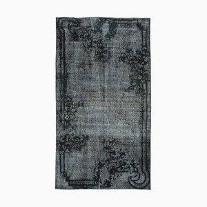 Black Vintage Hand Knotted Wool Over-dyed Carpet