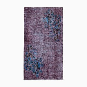 Purple Turkish Handmade Wool Overdyed Carpet