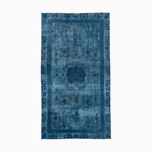Blue Anatolian Hand Knotted Wool Overdyed Carpet