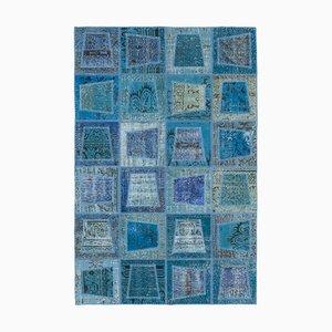 Blue Turkish Low Pile Handmade Vintage Patchwork Carpet