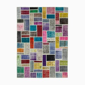 Vintage Anatolian MulticolorHand Knotted Overdyed Patchwork Carpet