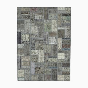 Grey Anatolian Traditional Hand Knotted Vintage Patchwork Carpet