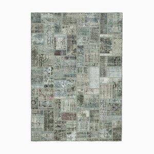 Grey Turkish Low Pile Handmade Vintage Patchwork Carpet