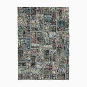 Grey Turkish Contemporary Handmade Vintage Patchwork Carpet