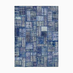 Blue Anatolian Decorative Hand Knotted Vintage Patchwork Carpet