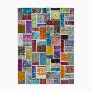 Multicolor Oriental Low Pile Hand Knotted Vintage Patchwork Carpet