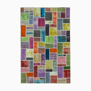 Multicolor Oriental Decorative Hand Knotted Over-dyed Patchwork Carpet