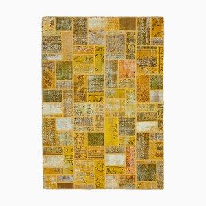 Yellow Turkish Low Pile Handmade Vintage Patchwork Carpet