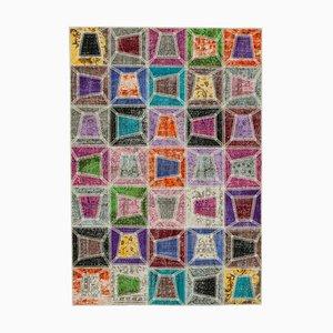 Mehrfarbiger Anatolischer Handgeknüpfter Vintage Patchwork Teppich