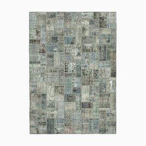 Grey Anatolian Decorative Hand Knotted Vintage Patchwork Carpet