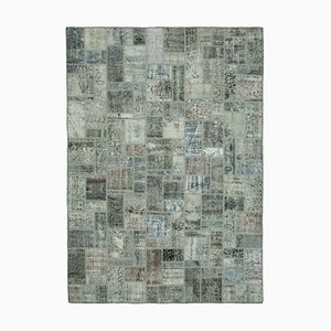 Vintage Grey AnatolianHand Knotted Overdyed Patchwork Carpet