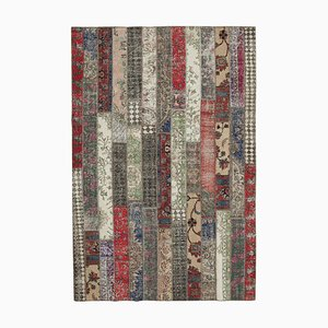 Multicolor Oriental Wool Hand Knotted Vintage Patchwork Carpet