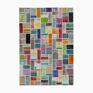 Multicolor Oriental Contemporary Hand Knotted Vintage Patchwork Carpet