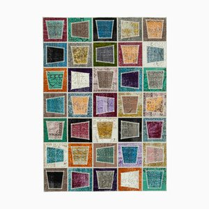 Multicolor Anatolian Decorative Hand Knotted Vintage Patchwork Carpet
