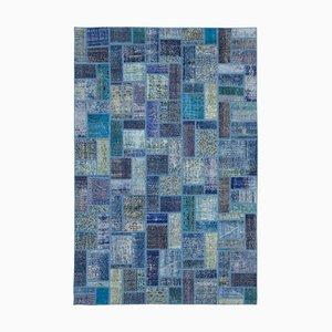 Blue Oriental Low Pile Hand Knotted Vintage Patchwork Carpet
