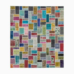 Multicolor Turkish Low Pile Handmade Vintage Patchwork Carpet