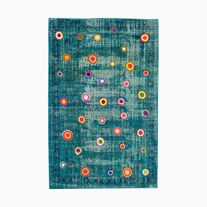 Turquoise Oriental Low Pile Hand Knotted Vintage Patchwork Carpet
