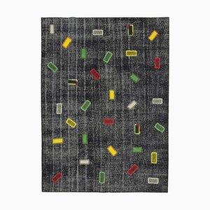 Black Turkish Wool Handmade Vintage Patchwork Carpet
