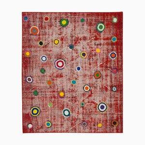 Red Turkish Low Pile Handmade Vintage Patchwork Carpet