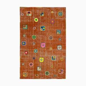 Orange Turkish Contemporary Handmade Vintage Patchwork Carpet