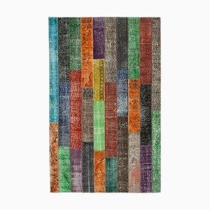 Alfombra anatolia contemporánea multicolor de patchwork tejida a mano