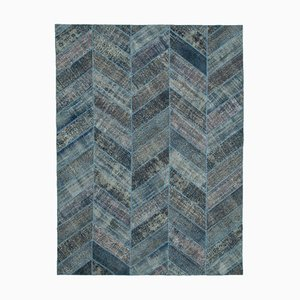 Blue Oriental Contemporary Hand Knotted Vintage Patchwork Carpet