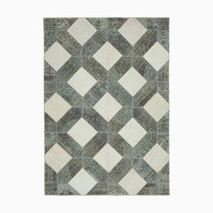 Grey Turkish Wool Handmade Vintage Patchwork Carpet