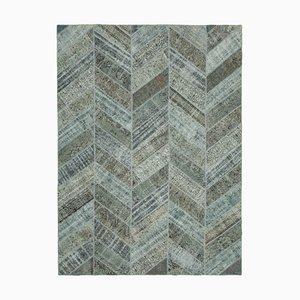 Grey Turkish Antique Handmade Overdyed Patchwork Carpet
