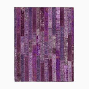 Purple Turkish Low Pile Handmade Vintage Patchwork Carpet
