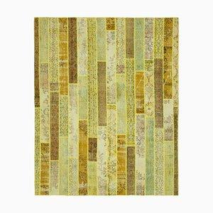 Türkischer Dekorativer Handgeknüpfter Überfärbter Patchwork Teppich in Gelb
