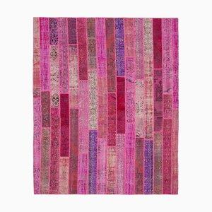Pink Turkish Contemporary Handmade Vintage Patchwork Carpet
