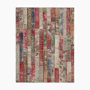 Red Turkish Traditional Handmade Overdyed Patchwork Carpet