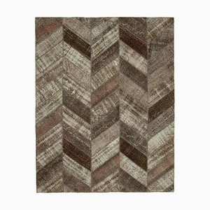 Brown Anatolian Decorative Hand Knotted Vintage Patchwork Carpet