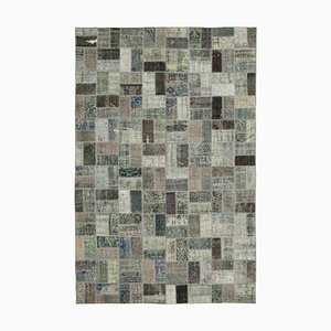 Grey Oriental Traditional Hand Knotted Overdyed Patchwork Carpet