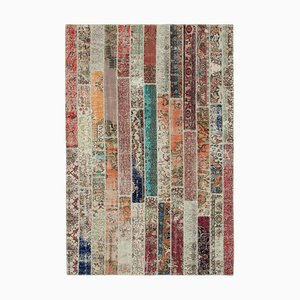 Red Anatolian Wool Hand Knotted Over dyed Patchwork Carpet