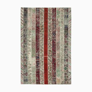 Multicolor Oriental Antique Hand Knotted Overdyed Patchwork Carpet
