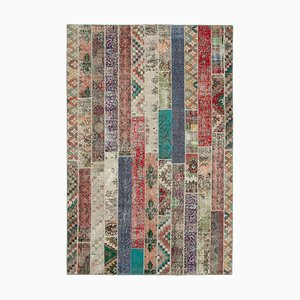 Multicolor Anatolian Low Pile Hand Knotted Overdyed Patchwork Carpet