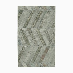 Grey Oriental Antique Hand Knotted Overdyed Patchwork Carpet