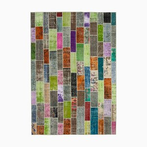 Türkischer Überfärbter Mehrfarbiger Traditioneller Handgeknüpfter Patchwork Teppich