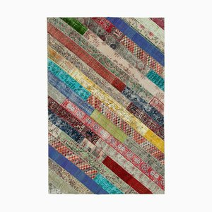 Multicolor Anatolian Traditional Hand Knotted Vintage Patchwork Carpet