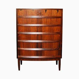 Danish Bow Fronted Rosewood Chest