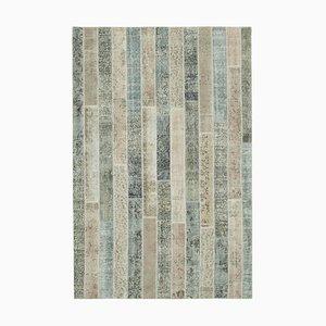 Türkischer Dekorativer Handgeknüpfter Überfärbter Patchwork Teppich in Grau