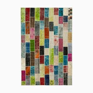 Tapis Multicolore Anatolian en Laine Tissée à la Main et Tissu Patchwork Teint