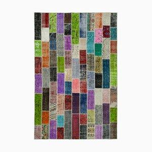 Alfombra anatolia Mid-Century de patchwork teñida anudada a mano