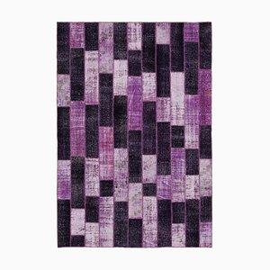 Purple Oriental Wool Hand Knotted Vintage Patchwork Carpet