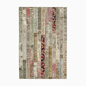 Multicolor Oriental Traditional Hand Knotted Overdyed Patchwork Carpet