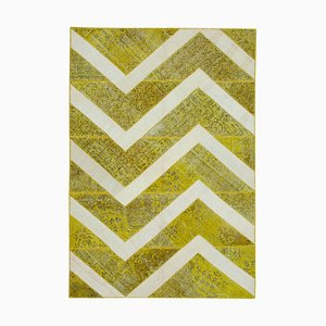 Tappeto Anatolico patchwork giallo annodato a mano